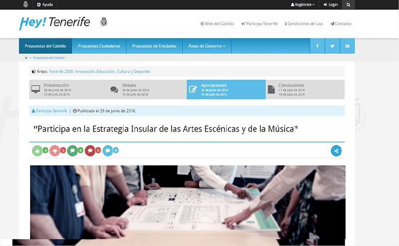 El Cabildo de Tenerife abre a la ciudadanía y a los profesionales su estrategia insular de las artes escénicas y de la música